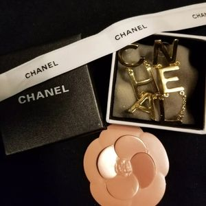 Chanel Gold Letter Logo Earrings